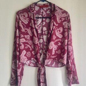Akita Silk Front Tie Long Sleeve Crop